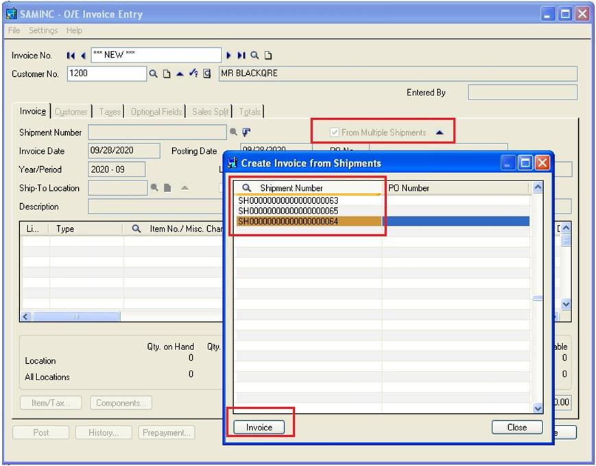 Create Single Invoice Entry from Multiple Shipment Entry in Sage – Shipment Invoice