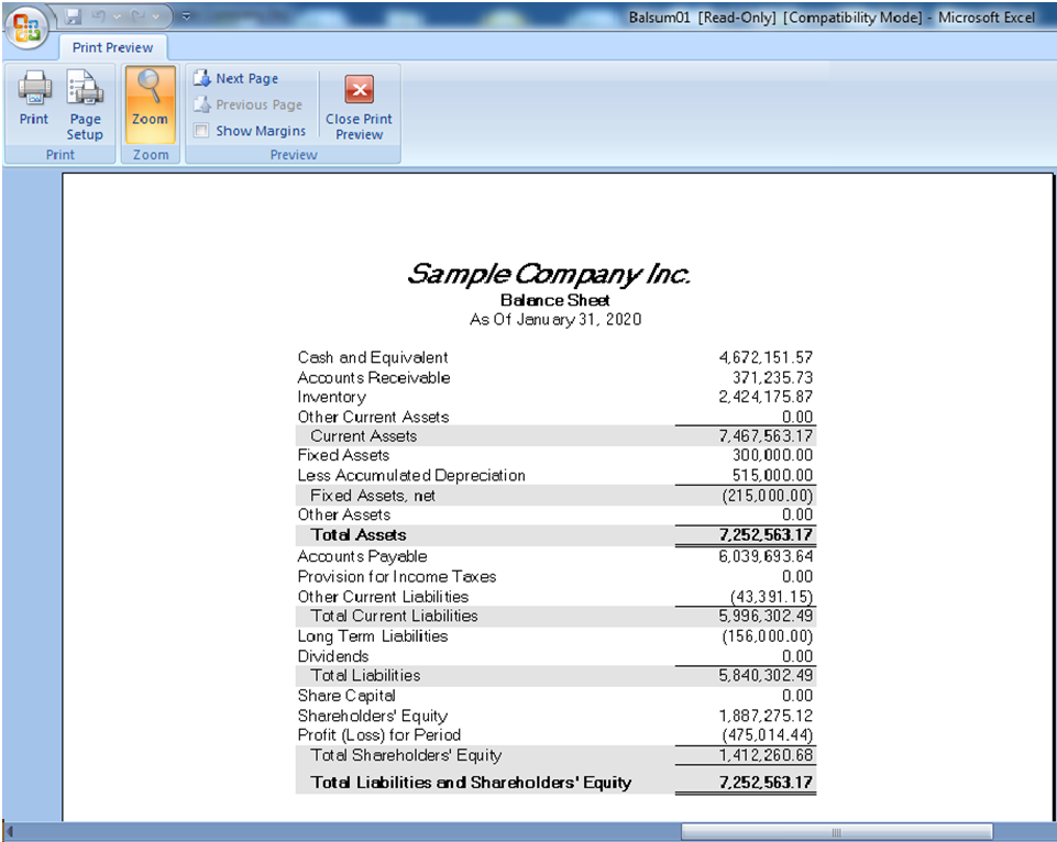 Financial Reporter in General Ledger Module of Sage 300 ERP Sage – Profit and Loss Report Sample