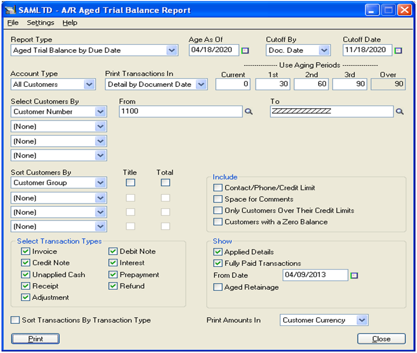 accounts receivable aged trial balance