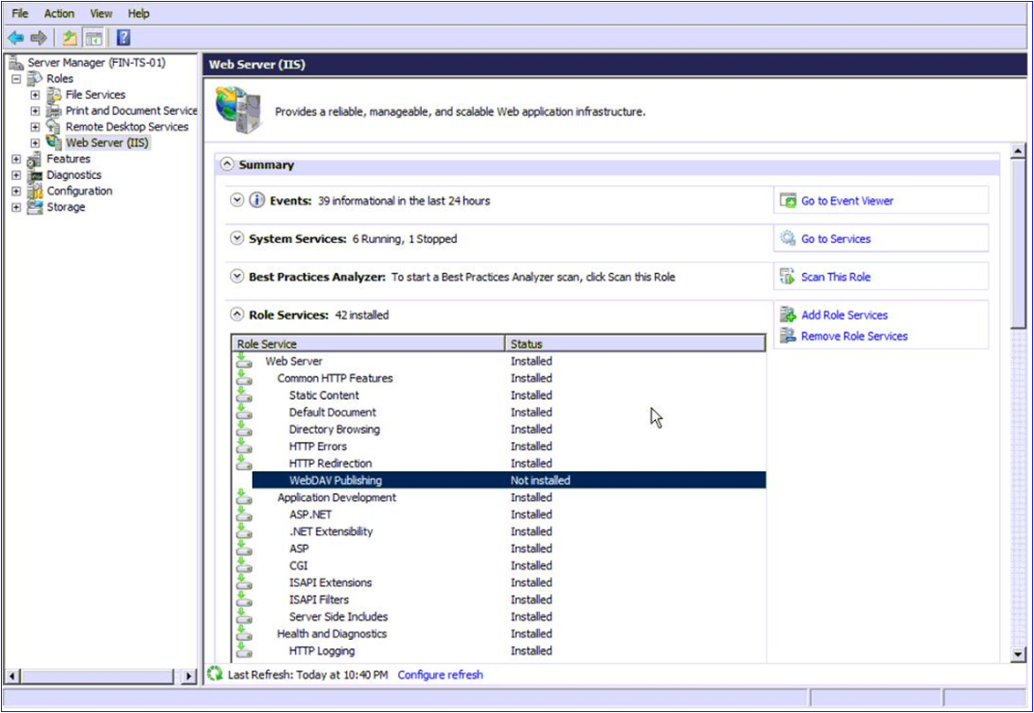 IIS 405 PUT Method Not Allowed in IIS Manager – Sage 300 ERP