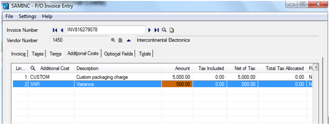 how to add additional cost on oe invoice sage