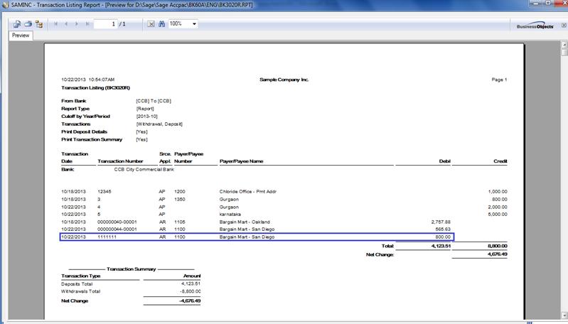 transaction listing