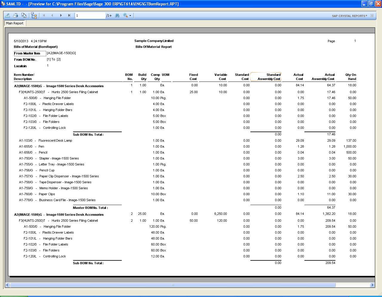 Custom Bills Of Material Report For Sage 300 Erp 2012