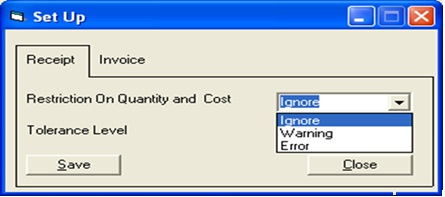 Template For An Invoice Pdf Quantity And Cost Restriction In Po Transaction  Sage  Erp  Rent Receipt Template Excel with Chick Fil A Receipt Excel User Can Also Set The Tolerance Level It Means If Tolerance Level Is Set  At  And Po Quantity Is  It Will Allow Receiving Up To  Qty Us Airways Receipts Word