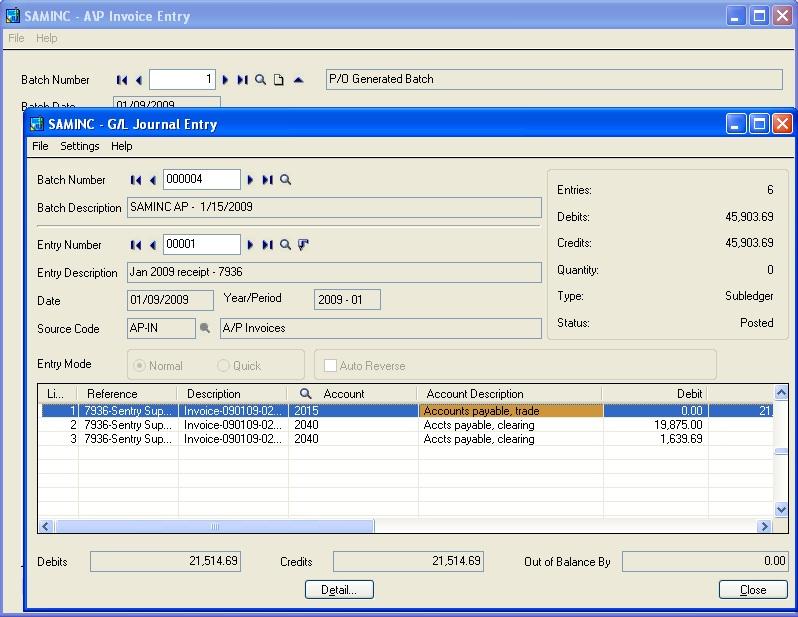 AP Invoice entry