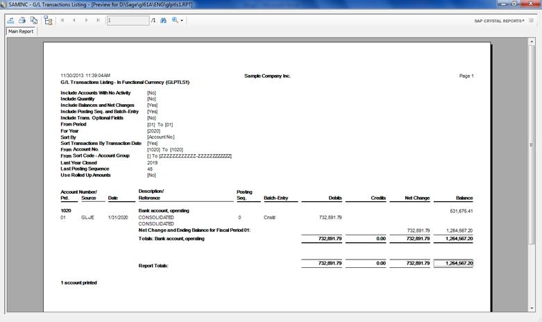 2. GL transaction Listing