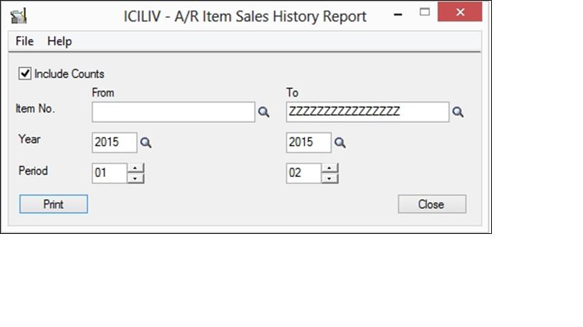 AR Item Sales History Report