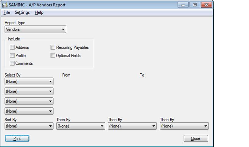 vendor report