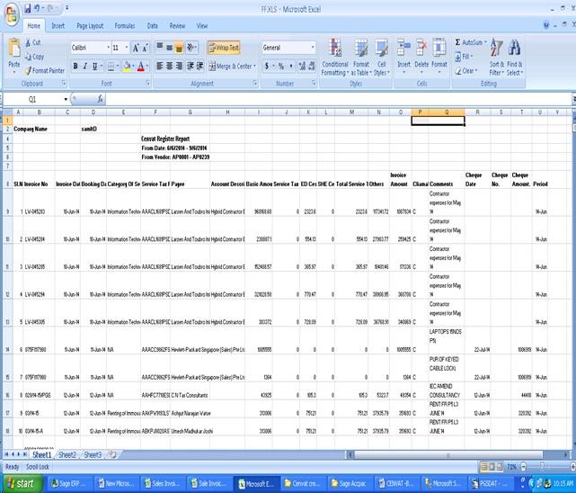 Cenvat Report Format