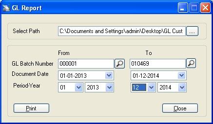GL Custom Report UI