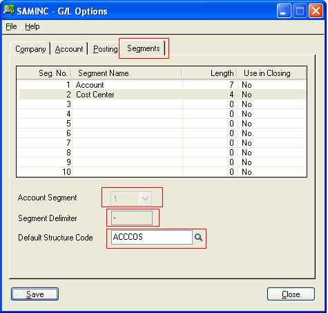 Gl options segment tab sage 300 erp tips tricks and components erp advance edition up to 4 and in sage 300 erp standard edition up to 3 segments can be created the following screen shot is provided for gl fandeluxe Choice Image