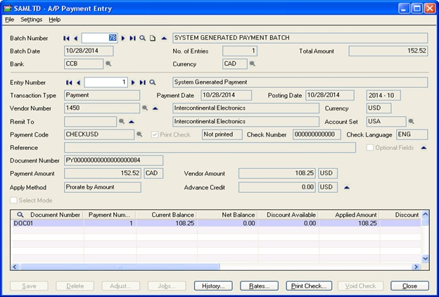 AP Payment Entry