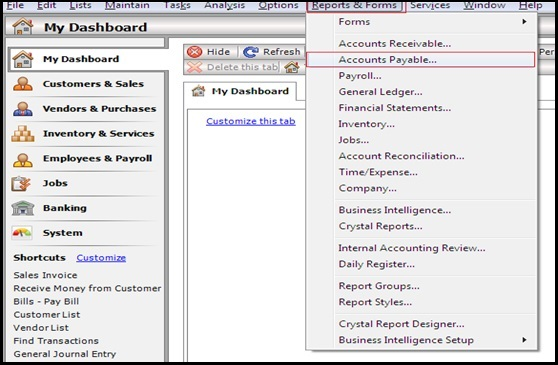 How to compare Accounts Payable Report from Sage 50 US