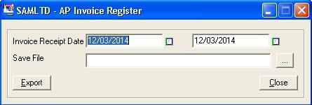 AP Invoice Register UI
