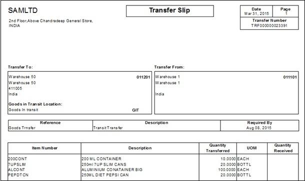 Transfer slip report
