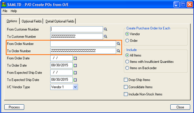 create purchase order form