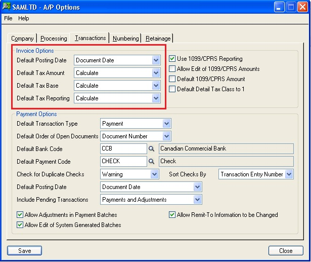 Default Settings For Invoices In Accounts Payable Sage ERP - Quickbooks invoice pending non posting