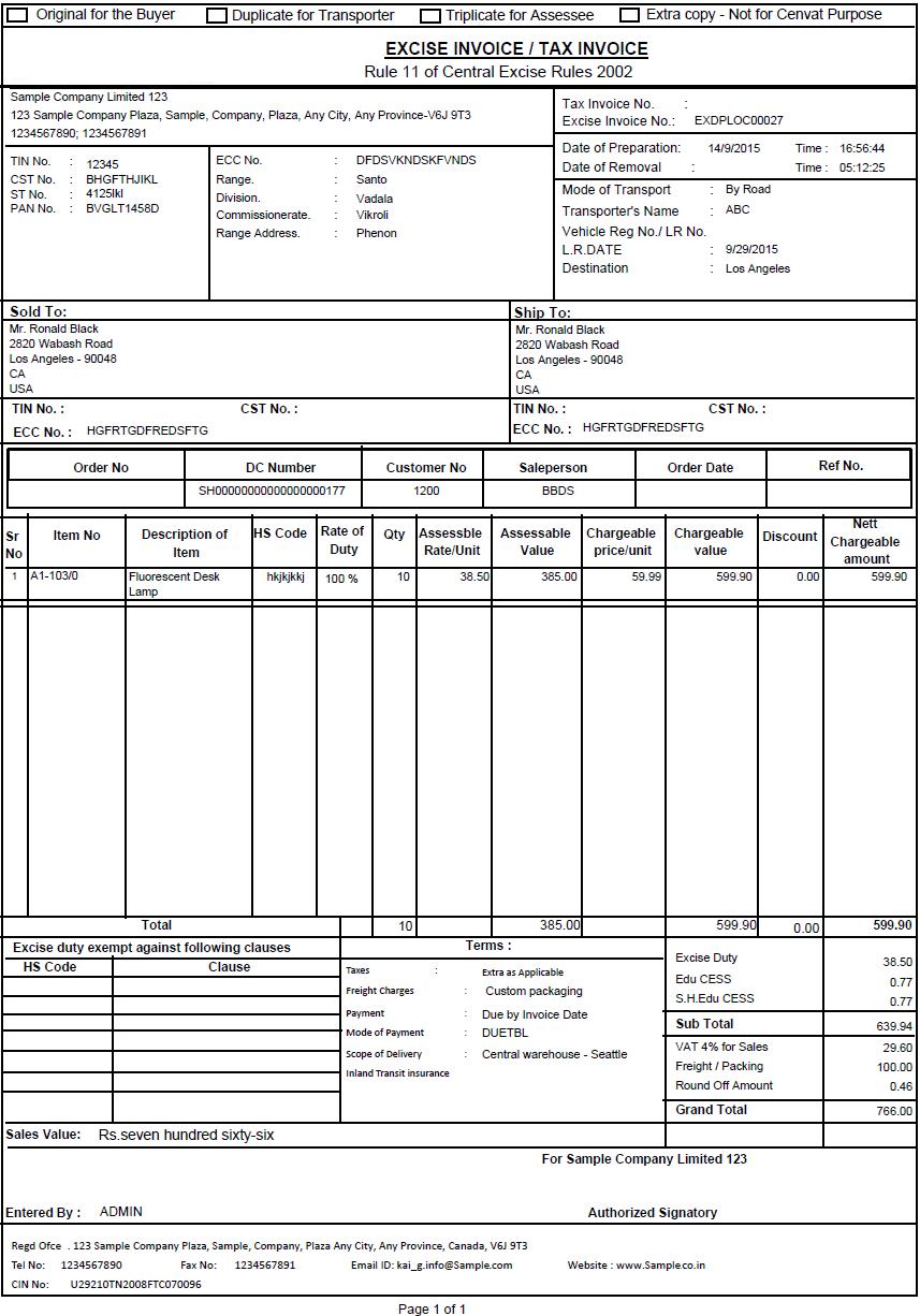 invoice report