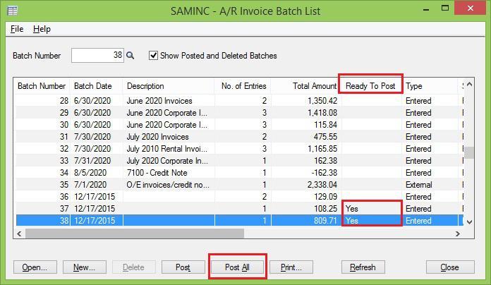Ar Invoice batch list