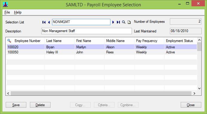 Payroll Employee Selection
