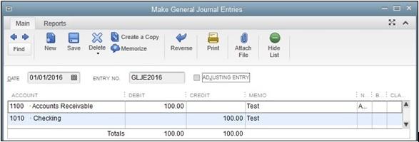 QuickBooks Accounts Transactions screen