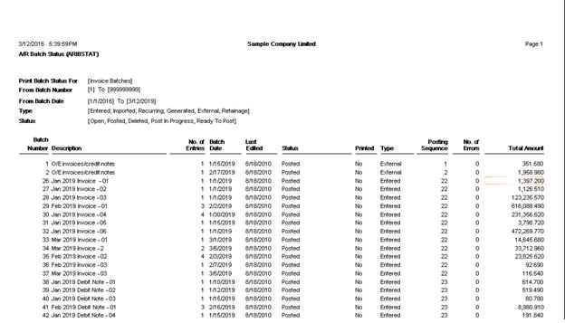 accounts receivable batch status report  u2013 sage 300 erp