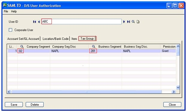 Tax Group Tab From User Authorization screen