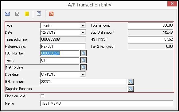 Sage BV AP Summary Invoice
