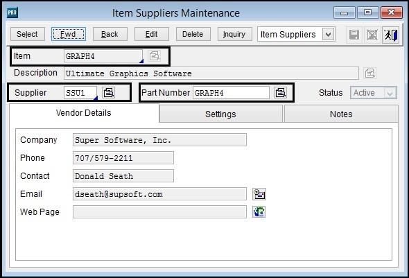 Sage Pro Item Supplier