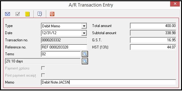 BV AR Debit Memo Details