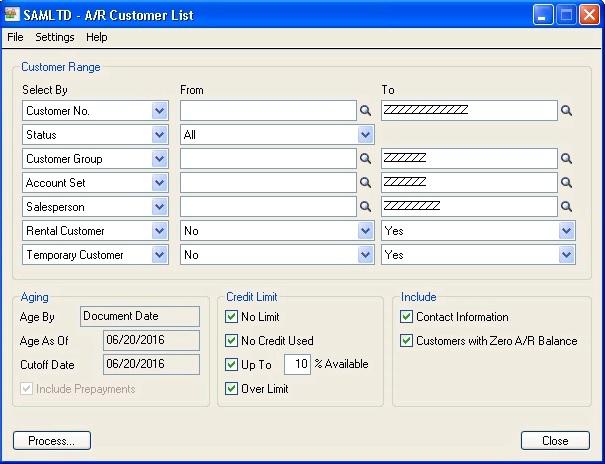 A/R Customer List Screen