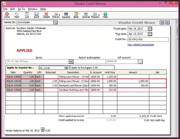 Sage 50 Vendor Credit Memo screen