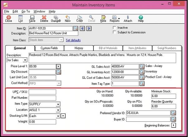 Sage 50 IC Screen