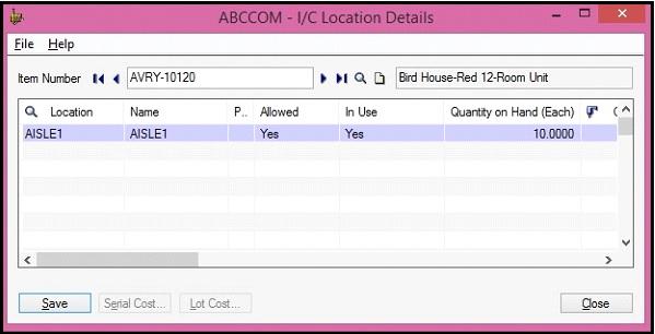 Sage 300 IC Location screen