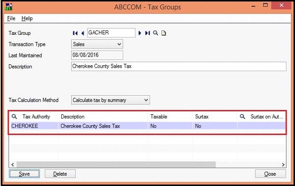 Sage 300 Tax Group Screen