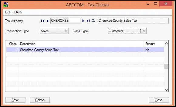 Sage 300 Tax class screen