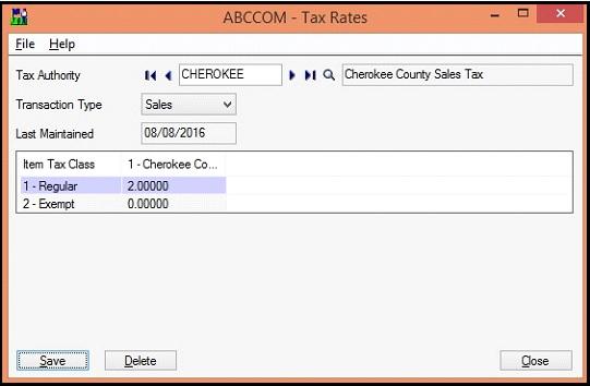 Sage 300 Tax rate screen