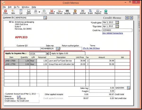 Sage 50 US Sales Credit Note Screen