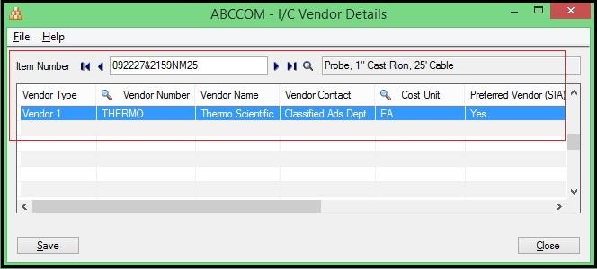Sage 300 ERP Item Vendor Details