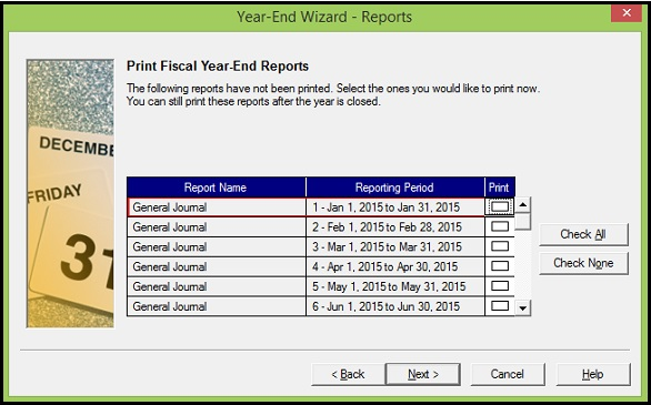 Print Fiscal Year End Reports