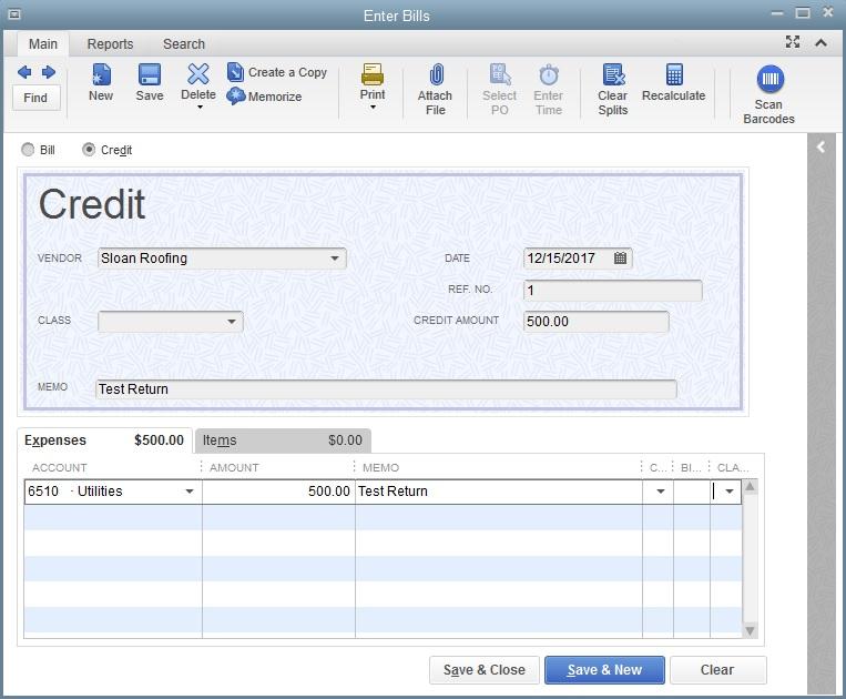 QuickBooks Credit Note Screen