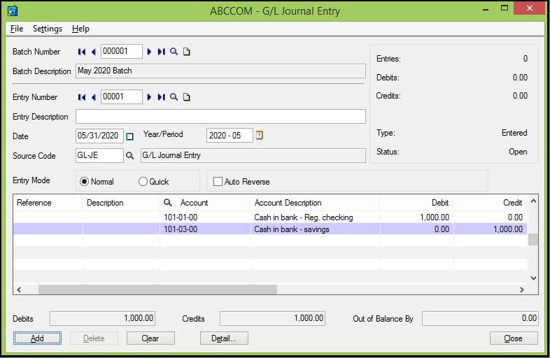 Sage 300 GL Account Transactions