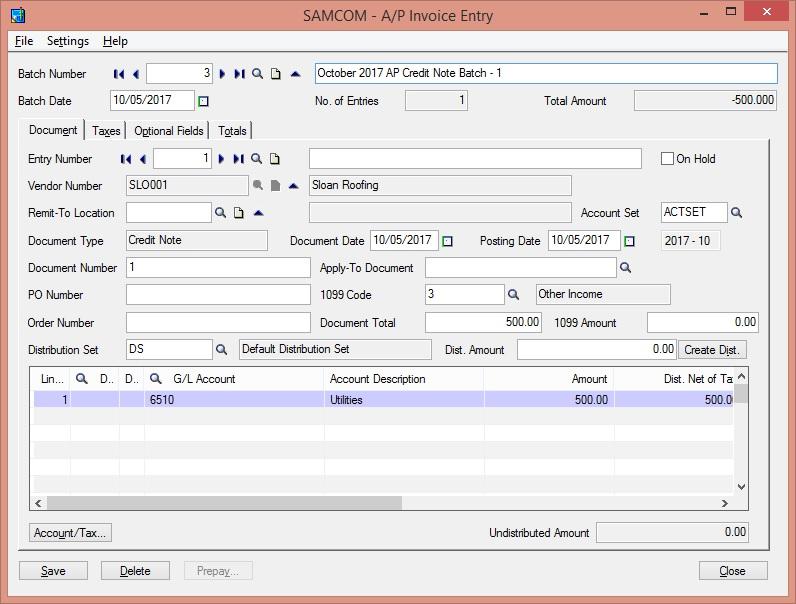 Sage 300 ERP Credit Note