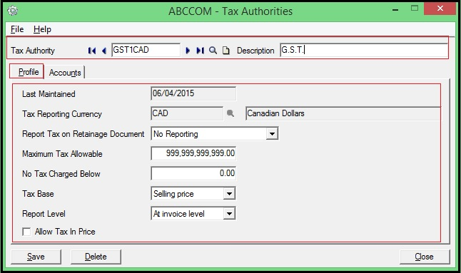 Sage 300 ERP Tax Authority Details