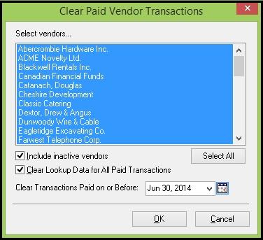 Clear paid vendor transaction