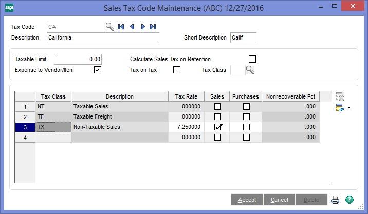 Sage 100 Sales Tax Code Maintenance