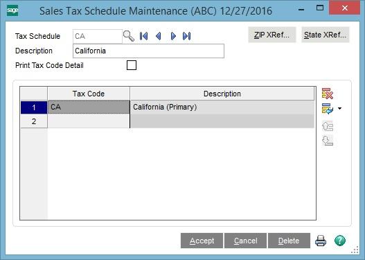 Sage 100 Sales Tax Schedule Maintenance