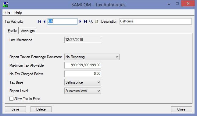 Sage 300 Tax Authorities