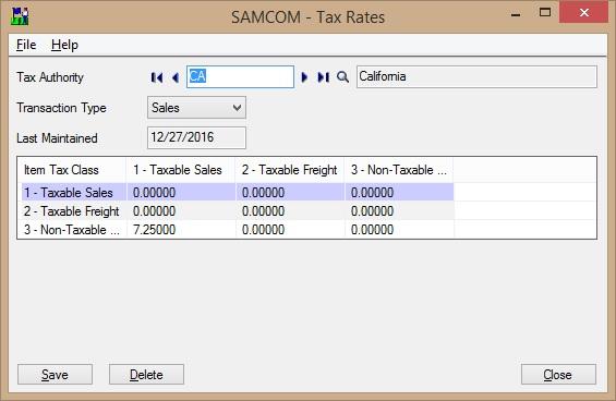 Sage 300 Tax Rates