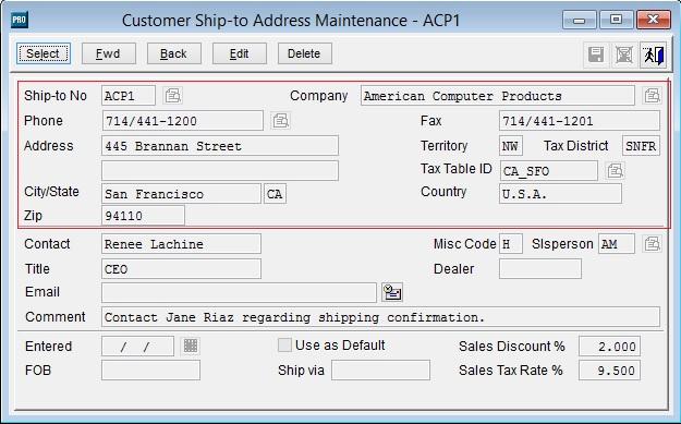 Ship to address Sage Pro